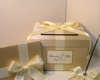 Wedding Card Box(SMALL SIZE) 3Sets,1 tier Champage and Ivory Card Box Guest book,Pen/Pen Holder .Gift Money Box Holder-Customize your color