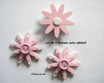3 flowers / buttons for decoration - self adhesive - colors pink - 4 cm (40 mm) in diameter