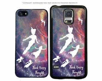 Disney Peter Pan Think Happy Thoughts Phone Case For Samsung Galaxy S8, S8 Plus, S7, S7 Edge, S6, Note 8, S5, LG G6, Google Pixel, XL
