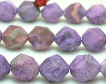 37 pcs of Purple Mexican Crazy Lace Agate faceted and matte nugget star cut dyed beads in 10mm (07089#)