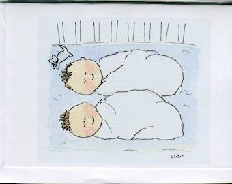 No 17 Twin baby cards newborn twin cards- twin shower cards twin baby boy card handmade card watercolour card twin baby shower newborn twins