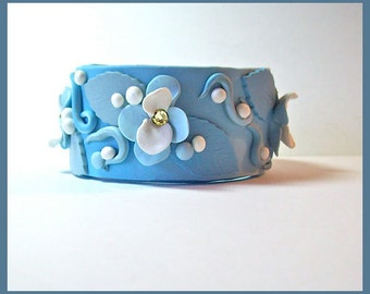 Cuff Bracelet Blue and White Polymer Clay 7 in. long 1 1/4 in. wide Magnetic Clasp Handcrafted