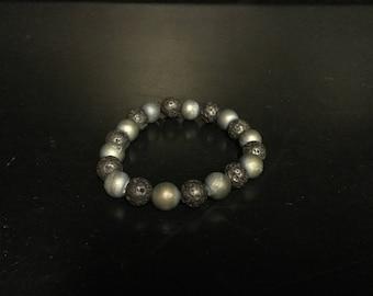 Men's bracelet - gray and blue beads