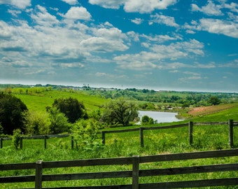 Goochland Virginia Pond, Blue Sky Photo, Goochland County, Open Field, Landscape Photo Art, 8x10 Photo, Framed Photography Option