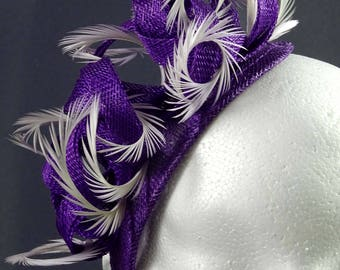Purple fascinator, fascinator headband, feather fascinator, headpiece purple, wedding guest hat, purple and lilac, occasion hat
