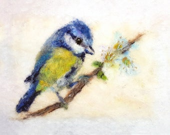 Felt artwork - Bluetit