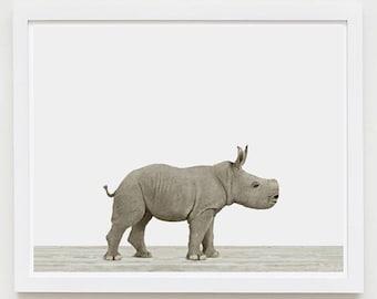 Bébé Animal crèche impression d'Art. Bébé rhinocéros. Décor de nurserie animale. Photo animaux de bébé.