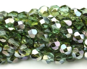 Czech Glass Beads Fire Polished Faceted Rounds 6mm Prairie Green Celsian (25) CZF630