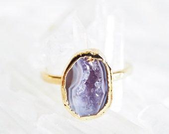 Maka'alohi ring -  gold geode ring, gold druzy ring, gold ring, gold boho ring, raw ring, mineral ring, hawaii jewelry, druzy jewelry, boho
