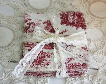 Toile and burlap coaster set