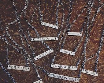 CUSTOM Sterling Silver Bar Necklace