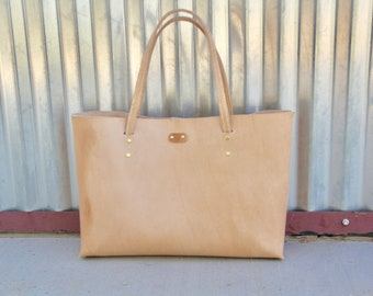 Women's Leather Tote, Raw handcrafted leather tote, veg tan tote, Hand-stitched, minimalist tote
