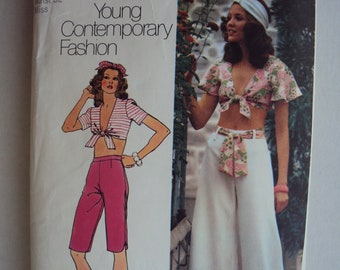 "Very 70's midriff tie top & bell bottom pants or capris pattern  Simplicity 5695 pattern -size 18  bust 40""- uncut"