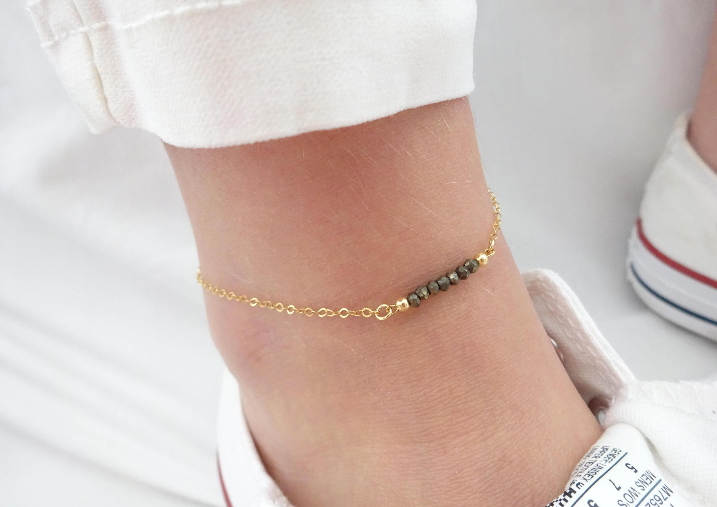 anklet gold cut love personalized choker necklace bead diamond rubystella rg solid rose