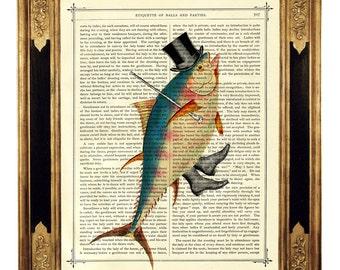 Dancing Fish Art Print Gentleman Top Hat Cane Steampunk Poster - Vintage Victorian Book Page Art Print  Nautical Sealife