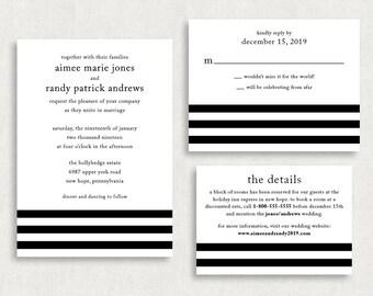 Wedding Invitation and RSVP Card (Beloved) - Digital Files, Printable, DIY, PDF, Postcard, Stripes, Black, White, Modern, Typography, jpeg