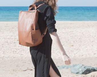 Brown Leather backpack, Laptop backpack, Vegan bag, Travel bag, Rucksack, Vegan backpack, Graduation Gift, Backpack women, Backpack men