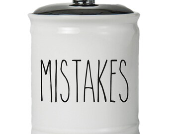 Mistakes Word Jar With Lid - Money Coin Jar - Money Bank - Money Jar - Money Jar With Lid