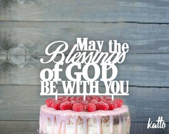 God be with you cake topper- Personalized  First Communion Cake Topper-  Church cake topper- First holy Communion cake topper