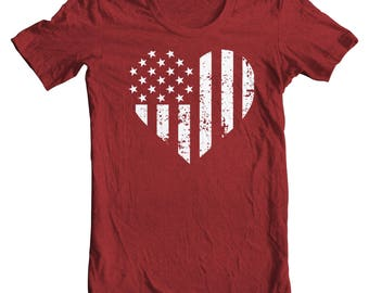 Vintage American Flag Heart Patriotic Tee - Fourth of July