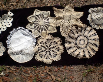 Crochet doilies with interesting patterns from Grandma