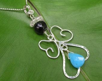 SALE Angel Fairy Black Pearl, Rose Quartz, Blue Chalcedony Sterling Silver Pendant