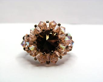 Ring bronze chocolate Swarovski crystals really really gift idea for woman