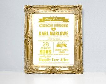 Hochzeit Zitat drucken, benutzerdefinierte Hochzeit drucken gerne je nach Hochzeit Typografie, Hochzeitsdatum, Hochzeit Plakat, Goldfolie, personalisierte Kunst