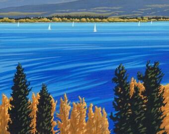 "LANDSCAPE ART PRINT - ""Autumn Sails"", Limited Edition Giclee Print on Fine Art Paper of Western Canada Landscape."