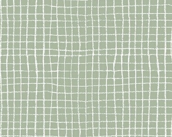 1 Yard HEMMA Lotta Jansdotter PLAID Check Net Grid 42116-5 CELEDON Modern Graphic Windham Scandinavian Quilting Sewing Fabric
