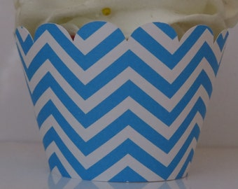 Turquoise Blue Chevron Cupcake Wrappers... Fully Assembled...set of 12.. Baby Shower, Birthday, Bridal Shower