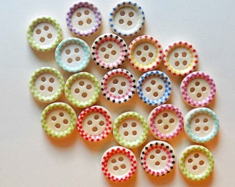 20 Mixed Dotted Design Wood Sewing Buttons -  #WS-00001