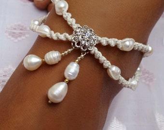 Bridal Rhinestone Anklet, Boho Wedding Anklet, Wedding Pearl Anklet, Flower, 1 Piece