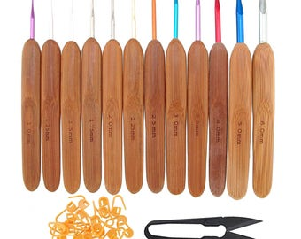 "5.5"" Bamboo Crochet Hooks Handle - 12 Sizes, 1mm - 6mm + Stitch Markers & Snips"
