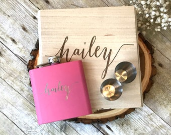 Personalized Hip Flask Best Friend Gift Maid of Honor Gift Idea Asking Bridesmaid Box Bridal Gift Set Bride to Be Maid of Honor Proposal