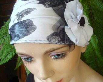 womens bathing cap headband black and white floral swim cap