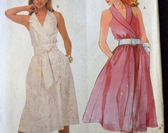 UNCUT Vintage 80's McCall's 2542  Misses Dress and Sash Sewing Pattern Size 10 Bust 32 inches Complete Uncut FF