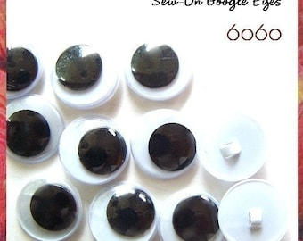 10mm Sew On Google Eyes - 5 PAIRS
