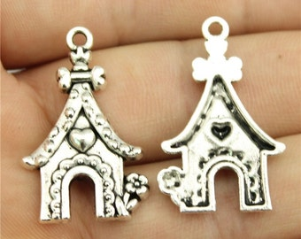 5 Dog House Charms, Antique Silver Tone (1E-74)