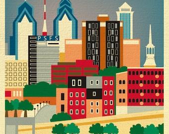 Philadelphia Skyline Art Print, Philadelphia Map print,  Philadelpia PA Retro Style Print, vertical, Loose Petals City Art -  style E8-O-PHI