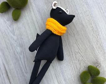 Skunk plush / fabric doll handmade, rag doll, heirloom doll