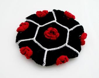 Crocheted Flower Hot Pad. Black. Potholder.