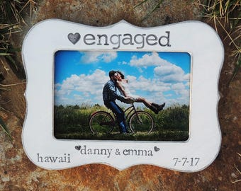 Engaged Engagement Gift idea Personalized Engagement picture Frame Bridal shower bride to be Wedding Gift