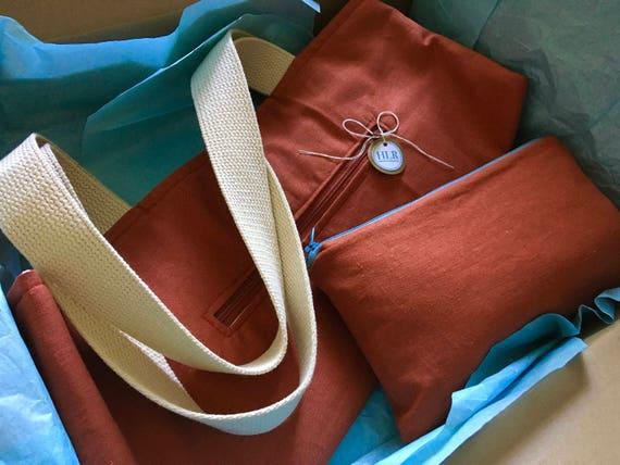 Linen Tote Bag w/wo Zippered Pockets
