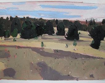 November End, Original Autumn Landscape Painting on Paper, Stooshinoff