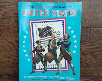 1970's Stamp Book w/ Vintage Stamps- Stamp Album/The Harris Freedom Album- United States- American/Patriotic/Used/Collection/Postage Stamps
