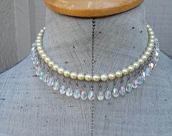 Ivory Off White Pearl & Rainbow Crystal AB Fringe Choker Necklace Wedding Bride Bridal Jewelry Jewellery / Pearl and Aurora Borealis Choker