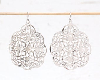 Silver Lace Earrings Large Silver Gray Filigree Earrings Boho Jewelry Silver Earrings Lace Bohemian Filigree Grey Gift for Her Delicate Lace
