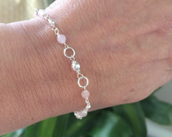 Sterling Silver ROSE QUARTZ Bracelet or anklet - January Birthstone jewelry - Heart Chakra gift
