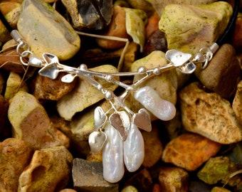 Pearls, handmade pendant. Silver plated